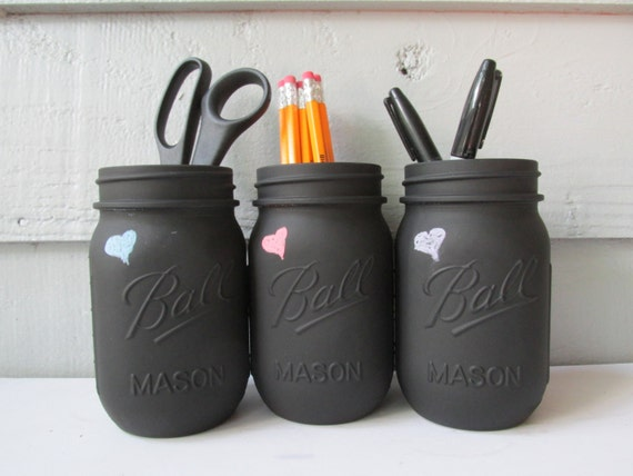 Dorm Decor- Back To School- Pencil Holder- Painted and Distressed Ball ...