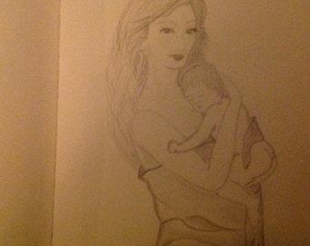 """OOAK Drawing """"Motherhood"""""""
