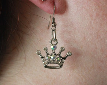 Crown dangles with clear gemstones