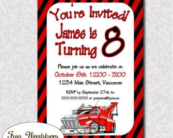 Red Rig Semi Tow Truck Invitation for Birthday - Printable Digital or Printed Invitation