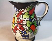 Ditmar Urbach pottery pitcher, Urbach floral jug, Slip pattern, 1 liter pitcher, Handled jug, Czech art deco pottery, Hand painted pitcher