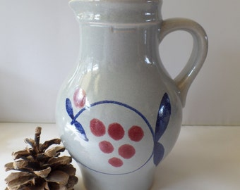 German wine jug / Pottery wine pitcher / German stoneware jug / Half a liter jug / Germany 224-17 / Grey pottery pitcher/ handpainted jug