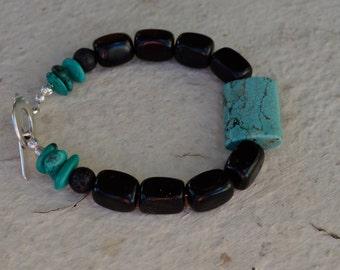 Men's Turquoise and Obsidian Bracelet, mens turquoise bracelet, mens obsidian bracelet, mens turquoise bracelet, obsidian bracelet, obsidian