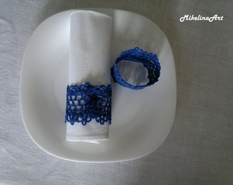 Crochet Napkin Rings, 100% Cotton, Sets of 4,8,12, Blue.