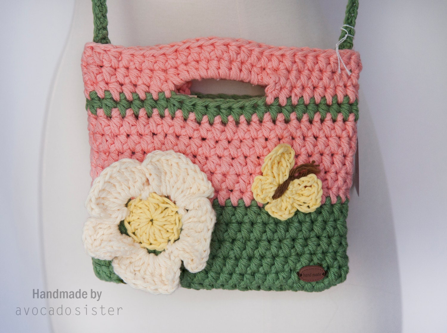 Crochet Bag For Girl : Girls Purse Flower Butterfly Crochet Bag/ Purse by AvocadoSister