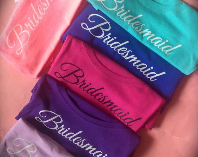 5 Long Sleeve Eco Bridesmaid T-Shirts / Bridesmaid wide neck Shirt / Maid of Honor / Matron of Honor / Bride To Be / Wedding Shirts /  Flowy