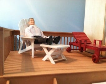 """Doll House Lawn Chair and table, Handmade to Scale.1""""=1' scale, FREE SHIPPING"""