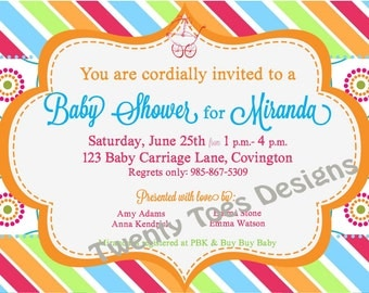 Happy and Bright BABY SHOWER Invitation PRINTABLE