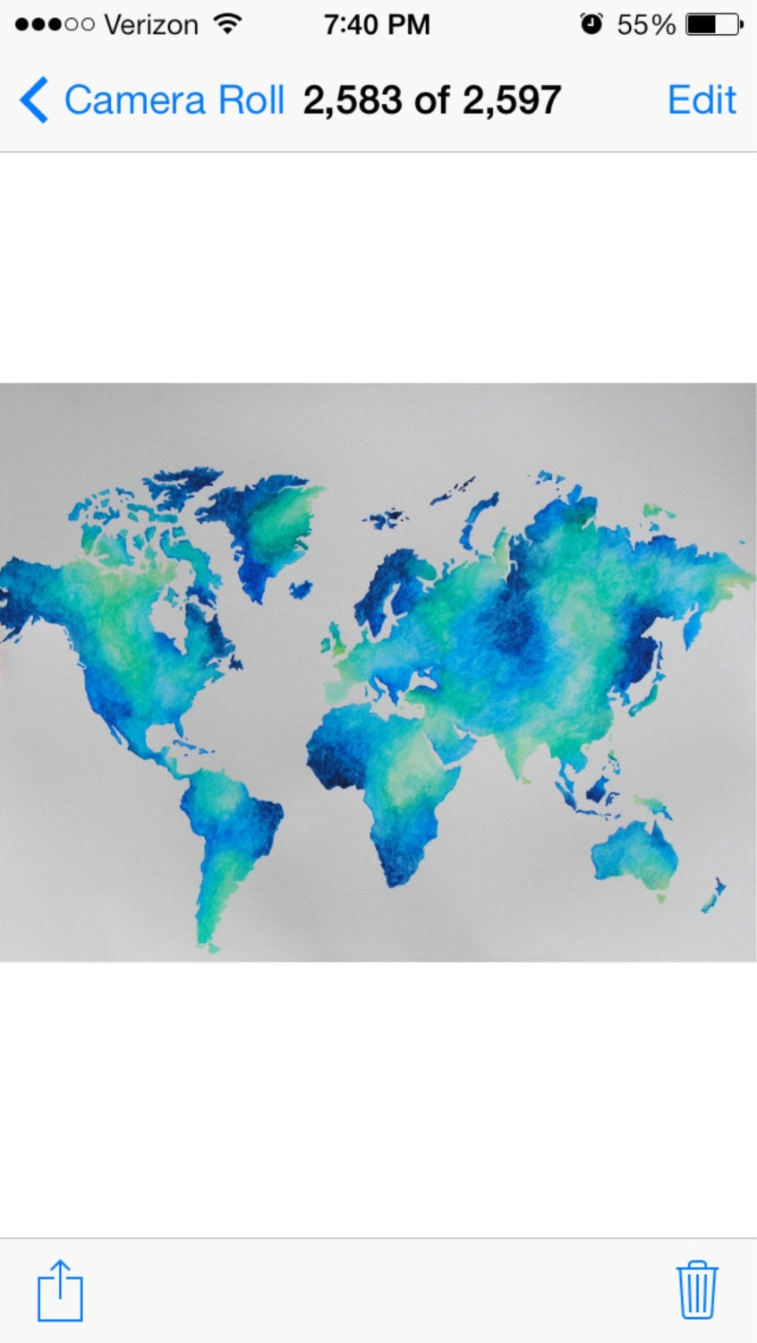 Watercolor world map etsy original watercolor world map art 18x24 by ericabibeeart gumiabroncs Images