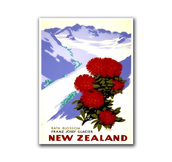 New Zealand Travel Poster Home Decor Hiking Wall Art Print