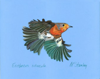 Print of an original pastel drawing of a robin