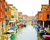 Venice photography, Murano, boats, Italy, canal, bridge, water, river, travel photography, colorful, wall art, beautiful home decor