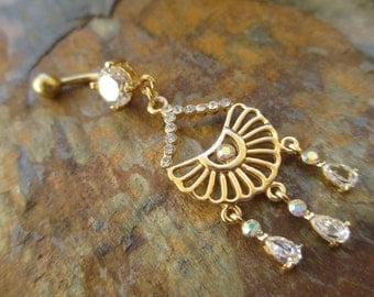 Gold Plated Crystal Chandelier Dangle Belly Navel Ring