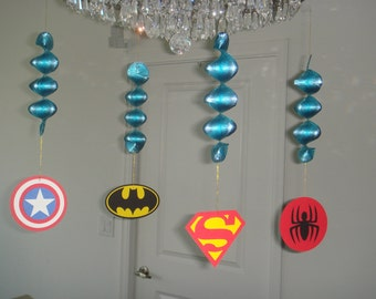 Superheroes birthday party hanging decorations decor cut out Set of 4 super hero