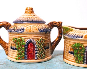 Charming Vintage Hand Decorated Stafford Fine China Country Cottage Creamer and Sugar Set
