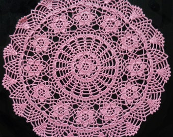 Pink flower doily