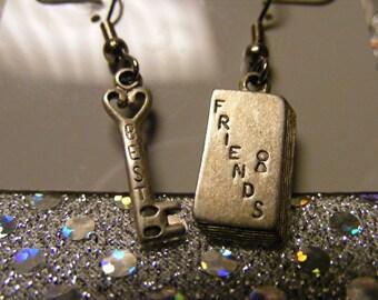 Silver Best Friends Dangling Pierced earrings