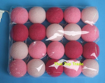 20 Mix Valentine Tone Cotton Ball String Lights Wedding Party