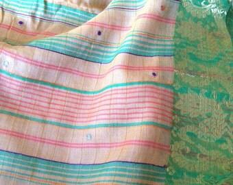 Beige Cotton Sari with golden checks, Floral Hand embroidery with threads, Green Zari border, Green zari tissue blouse, 5 yards Indian Sari