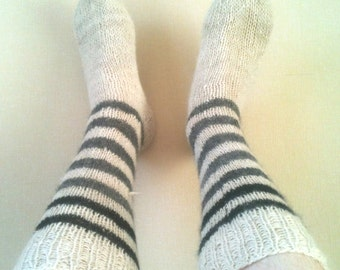 Alpaca socks - Handknit, white with stripes in black and gray