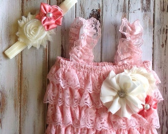 Baby Pink Petti Romper with matching Headband, baby photo outfit, babys first photos, newborn photos