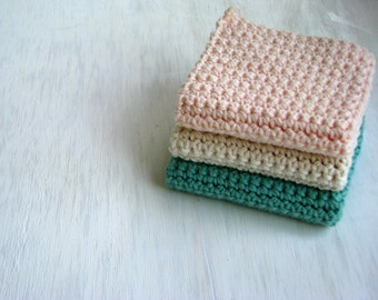 Cotton Crochet Dishcloth - Set of Three - Summer Pastel Colors