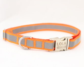 Dog Collar with Personalized Buckle,Reflective,Safe,Night walk,5/8 Inch, Fluorescent Orange