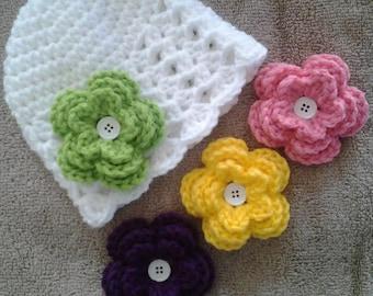 Baby Girl Hat, Baby Hat, Newborn Hat, Crochet Baby Hat, with 4 Flowers - Hat Sizes Newborn - 12 months