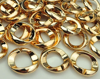 Plastic Round chain link,50pc chunky chain links,gold chain links/Acrylic Links/Plastic Links,,31mm