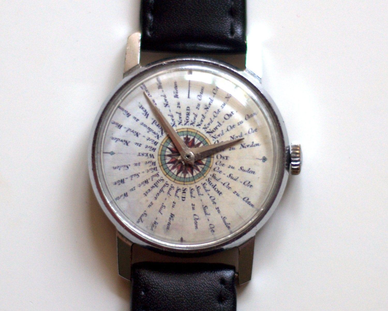 Vintage Watch Soviet watch wind rose on watch face
