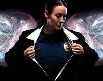 Answering the Call (Female Police) by Artist Jason Bullard