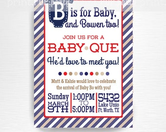 Baby Que Baby Shower Printable Invitation - YOU PRINT