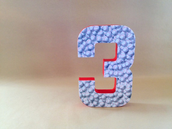 Baseball number 3 home decor birthday baseball sports for Number 3 decorations