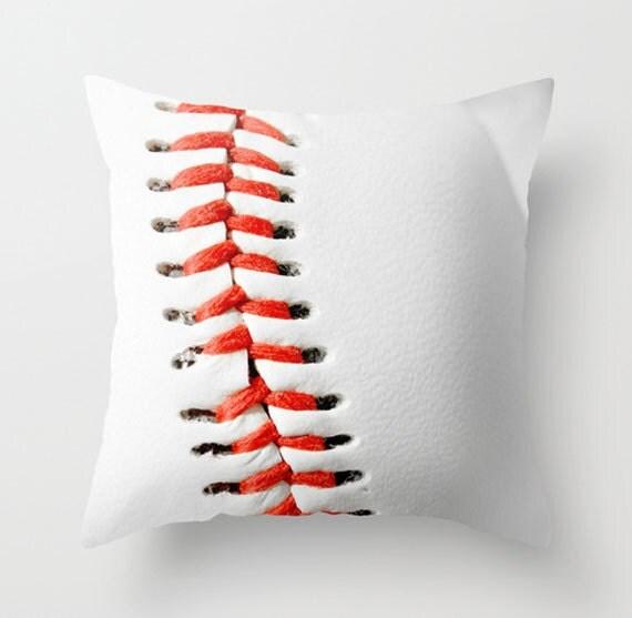 Baseball Home Decor: Baseball Pillow Cover-Sports Home Decor-Baseball-Red & White