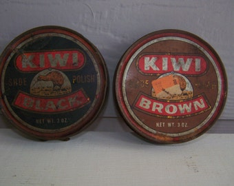 Two KIWI Shoe Polish Tins