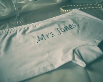 Personalised Underwear, Bridal Underwear. Diamante White Cotton Bespoke Mrs Knickers. Honeymoon Gift