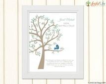 Baby BOY BAPTISM GIFT, Personalized Baptism Art Print, Baptism Tree Print, Baptism Gift for Godson, Christening, Dedication