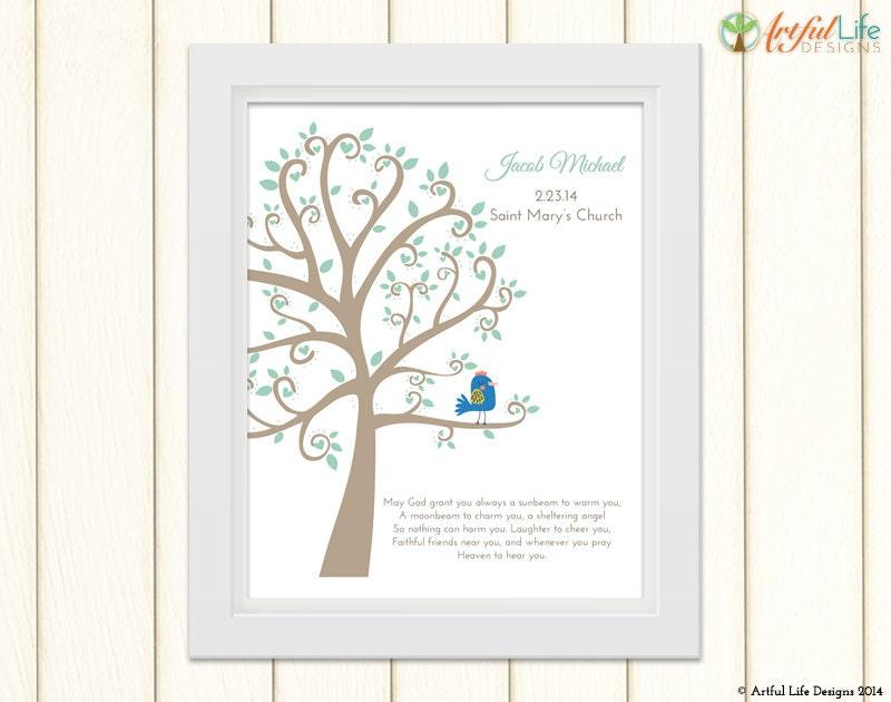 Gift Baby Boy Baptism : Baby boy baptism gift personalized art print
