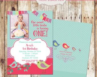 Little Birdie Birthday Photo Invitaiton