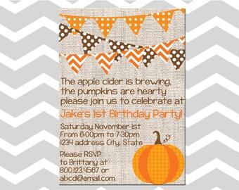 Pumpkin First Birthday Invitation/Card Fall Birthday Invitation/Card Baby Boy First Birthday Pumpkin Invitation/Card