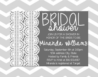 Bridal Shower Invitation/Card Bridal Shower Lace Invitation/Card