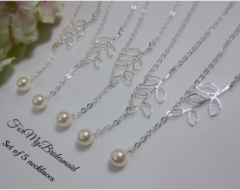Bridesmaid Gift Set of Five Swarovski Single Pearl and Leaf Lariat Style Necklaces, Bridesmaid necklace, Bridesmaid Jewelry, Wedding jewelry