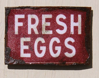 Miniature Dollhouse Vintage Inspired Tin Sign - Fresh Eggs (Red)