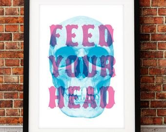 Jefferson Airplane art print, song lyric art, music inspired print, typographic print, Feed Your Head, song lyric print