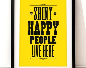 R.E.M. inspired print, R.E.M. art print, music inspired print, typographic print, Shiny Happy People, R.E.M. poster, new home, house gift