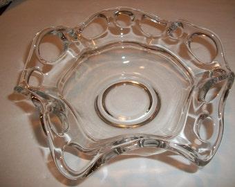Crocheted Crystal Ruffled Bowl / Free Shipping