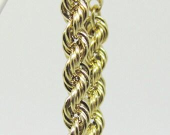 SALE * Yellow gold rope hoop earrings. Vintage. Hand Made