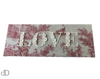 LOVE Button Picture in beige and red toile de jouy fabric