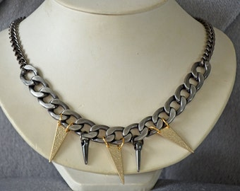 Two Tone Chain and Spike Necklace