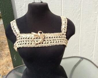 Vintage Cream Lace Bodice , 1920's Fashion, Crochet Bodice, Lace Bodice, Vintage Bodice, Bodice Insert, Tie Satin Ribbon, Square Bodice
